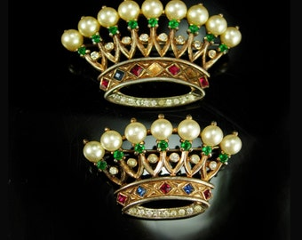 Vintage Crown Trifari Brooch set Alfred Philippe Sterling Signed estate rhinestone jewelry