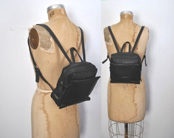 Black leather Backpack Bookbag