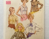 """Simplicity 8399 Vintage 1969 women's shirts sewing pattern, size 12, Bust 34"""""""