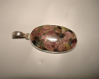 Sterling Silver Large Oval Brazilian Tourmaline Pendant 925