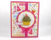 Cupcake cards, cupcake birthday cards, happy birthday cards, girls birthday, glittered birthday cards, kids birthday cards