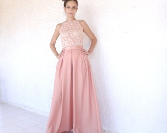 SKIRT Box Pleated Peach Crepe Satin Maxi Ball/ Wedding Gown/Prom Dress/ Formal Separates