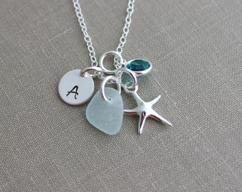 Genuine sea glass and sterling silver starfish necklace, personalized with Swarovski crystal birthstone and initial disc, Beach Jewelry