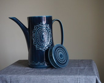 Vintage Mid Century Ceramic Coffee Pot in Petrol Blue with relief pattern