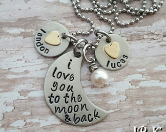 Custom hand stamped, Personalized, JBK, I love you to the moon and back custom hand stamped necklace with two charms