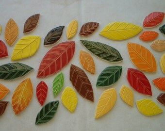 38Mo - 38 pc Beautiful FALL LEAVES Set - Ceramic Mosaic Tiles
