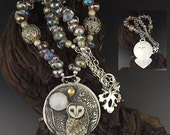 Sun, Moon and Stars Sterling Silver,  Porcelain barn owl custom necklace SRA Laura Mears focal