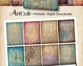 """Printable 16 LITTLE BACKGROUNDS Digital Collage Sheet downloadable 2.5""""x3.5"""" size images Jewelry holders Vintage style paper goods ArtCult"""