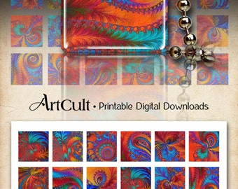 """Printable images TEXTURED FRACTALS for pendants 1""""x1"""" and 1.5""""x1.5"""" size downloadable digital images for craft and art projects, magnets"""