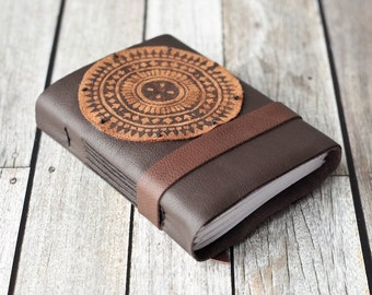 Brown Leather  Journal with Mandala Inspired Block Print Design