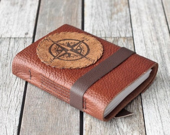 Leather Journal with Compass, Rustic Sketchbook, Travel Diary
