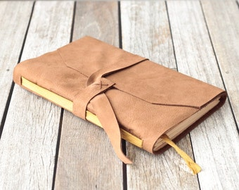 Tan Leather Journal with Yellow Ribbon Bookmark