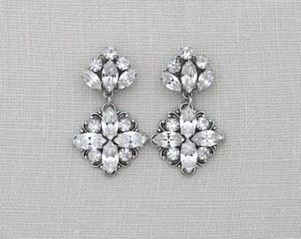 Bridal earrings, Bridal jewelry, Wedding earrings, Swarovski crystal earrings, Vintage style earrings, Art deco earrings, Antique silver
