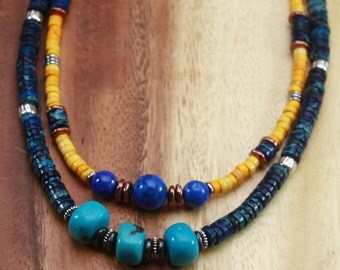 Stackable Necklace - Choker. SALE. Around The World. Turquoise, Aragonite, Chrysocola, Labradorite,  Pearls Gemstone Necklaces