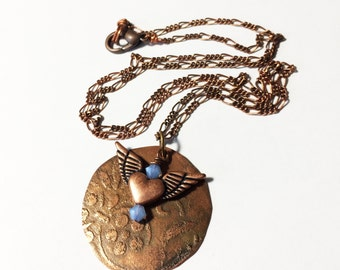 Winged Heart Necklace, Etched Copper Necklace
