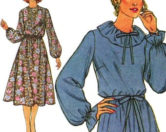 Flouncy Boho Dress! Vintage ©1978 Simplicity Sewing Pattern 8719 Misses' Dress and Tie Belt, Size 12, Uncut with Factory Folds