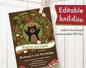 Woodland black bear theme Editable Printable Birthday Party Invitation gender neutral baby shower floral mushrooms Instant Download