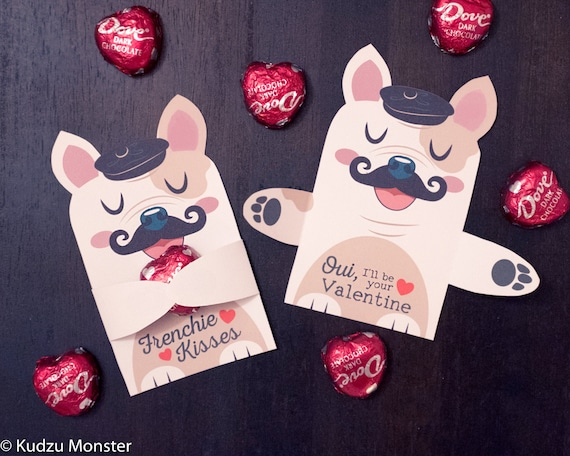 Frenchie Puppy Classroom Candy Holder valentines french bulldog – Candy Valentine Card