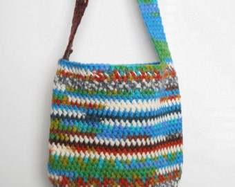 SALE Crochet Shoulder Purse in Turquoise and Multicolor Stripes with star print lining, ready to ship.