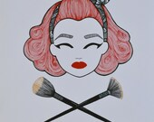 Wall Art Make Up Artist 1950's Woman  Make Up Brushes. Red Hair and Black Bandanna Christmas Gift for Make Up Artist or Pin Up Girls.