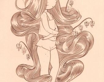 Bleeding Heart - 11x17in Original walnut ink painting - Delicate Ink Drawing