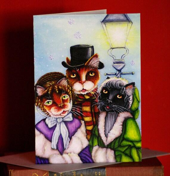 Christmas Caroler Cats 5x7 Blank Holiday Greeting Card