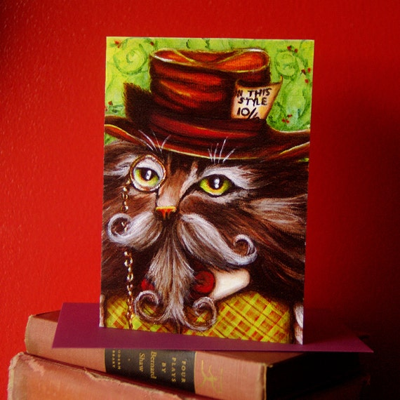 Mad Hatter Cat Card, Alice in Wonderland Fantasy Cat Greeting Card