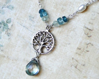 Tree of Life Necklace, Mystic Green Quartz, London Blue Topaz, Pearl - Greenwood from CircesHouse on Etsy