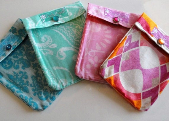Ouch Pouch 4 Pack (Small 4x5 Your Choice Fabrics) Organizer First Aid Case for Backpack Diaper Bag Purse Insert Gift Under 6
