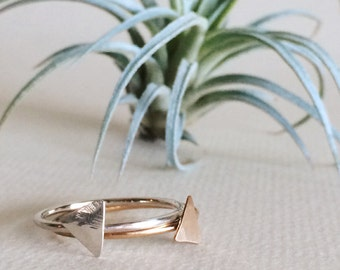 Triangle Stacking Rings / Sterling Silver or 14k Gold Filled / Dainty Jewelry / Hammered / Gifts for Her