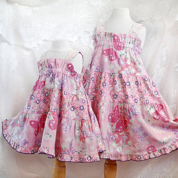 Little Girl Pink Dress Butterfly Girls Summer Dress Tiered Twirl Dress Pink Party Dress Pink and Purple Girls Cotton Dress Size 2t 3t 4t 5 6