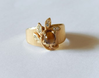 vintage ring 18KT gold matte EP, tiger's eye, cubic zirconia, size 6, vintage jewelry, wide band