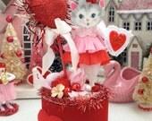 Vintage Inspired SuGaR SwEeT Valentine Kitschy Kitty Keepsake Be Mine Valentine Diorama