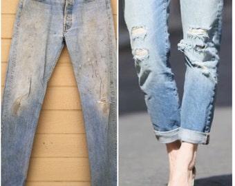 Vintage 70s Levi's 501 Boyfriend Jeans. 35 x 36. Vintage denim. Destroyed. Levis. Stains. Distressed Denim pants Light wash eb