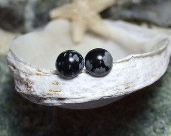 Snowflake Obsidian 6mm Stud Earrings Earings Titanium Post and Clutch Hypo Allergenic Black Grey Lava