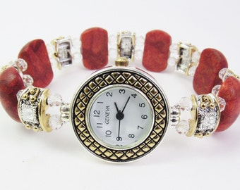 Two Tone Red Jasper and Clear Faceted Crystal Glass Stretchy Bracelet Watch with Swarovski Crystal Sliders