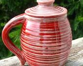 large covered mug, oxblood
