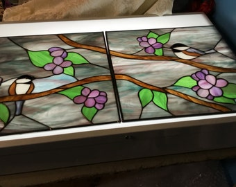Chickadee Stained Glass Panels