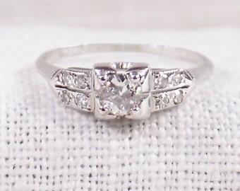 Vintage 18K Gold Diamond Engagement Ring .35 Carat