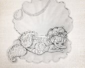 Black and White Mermaid in Shell Image Cute Digital Downloads fabric transfer decoupage pillows tote ocean sea pearl oyster vintage image