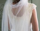 Draped veil, Bridal veil, wedding veil, tulle veil, floor length veil, Ivory veil, antique lace veil  - EVIANNA,