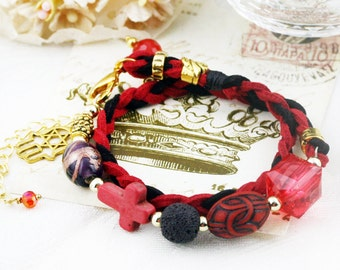 Passion - double wrap braided bracelet