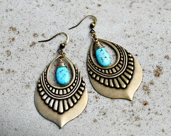 Chandelier Earrings, Turquoise,  Bohemian Earrings, Brass