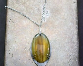 banded golden fluorite necklace in sterling silver