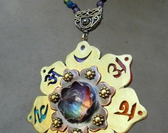 Chakra Mandala Necklace, Chakra Symbols, Chakra Beads, Chakra Colors, Chakra Balancing, Lotus Flower, Handmade, Metalsmithed, Made to Order
