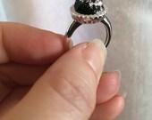 Nebula™ Halo Ring pet memorial . Sterling silver. TAMB. Urn, teeth, hair, fur, pet cremains, pet ash