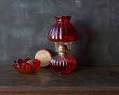 Your Choice of Red Glass Lantern Glass Bowl Saddle Soap Tin Or All Rustic Decor Lighting Cabin Off Grid From Nowvintage on etsy