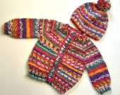 Sweater Hat Set for girls Norwegian Style Baby 6 9 12 month Pink Striped Multi Color soft wool acrylic blend for toddler girl READY TO SHIP
