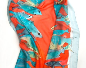 Hand Painted Silk Scarf The Fish Passage. Bright summer scarf. Luxury handpainted scarf 35/70. Aqua red silk scarf. Birthday gifts for her