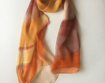 Striped scarf- Honey gold and pumpkin scarf, hand painted scarf, silk chiffon scarf, summer scarves, trendy scarf, lightweight scarf